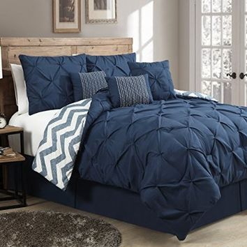 Geneva Home Fashion 7-Piece Ella Pinch Pleat Comforter Set, King, Navy