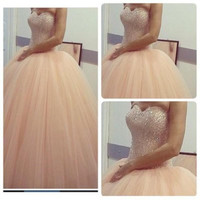 Blush Pink Wedding Dresses 2016 Spring Ball Gown Sequins Sweetherat Tulle Pastels Cheap Bridal Dresses Custom Chapel Train
