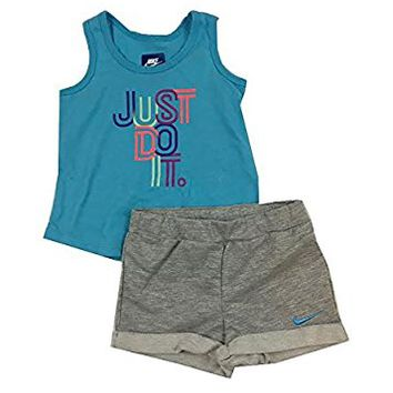Nike Infant Girls Just Do It Tank Top and Shorts Set Dark Grey Heather Size 24 Months