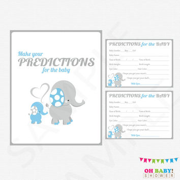 Blue Elephant Baby Shower, Predictions for Baby Boy Baby Predictions Blue Gray Baby Shower Activity Printable Sign Instant Download, ELLBG