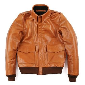 Free ,Brand orange men 100% genuine leather Jackets,casual slim classic A2 Oil wax cow leather jacket,quality.sales