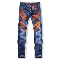 Men Style Rinsed Denim Denim Stylish Pants [6541746563]
