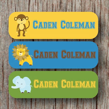 56 Personalized Waterproof Name Labels Custom Daycare Name Labels Removable Dishwasher Safe Sticker Jungle Boy Baby Bottles Sippy Cup -Caden