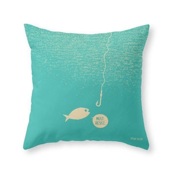 Society6 Fish & Hook Throw Pillow