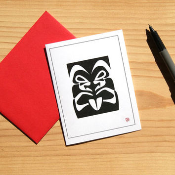 Tiki Card - Bold Graphic Design - Blank Card - FREE SHIPPING