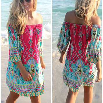 Bora Bora Off The Shoulder Quarter Sleeve Printed Fuchsia Dress