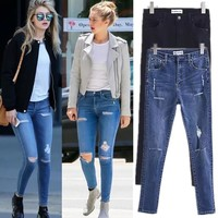 Pen Star Ripped Holes Ladies Jeans [11716875279]