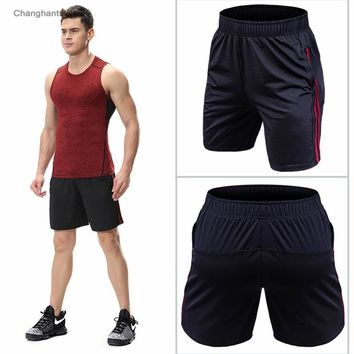 Men Running Shorts Black with Lines Basketball Tight Jerseys Quick Dry Yoga Sportswear Elastic Gym Clothes