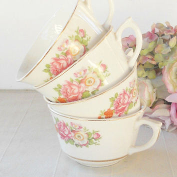 Vintage Canonsburg Cottage Style Tea Cups, Set of 4, Keystone, Shabby Chic, Tea Party, French Farmhouse, Weddings, Ca. 1940's