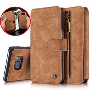 CaseMe Brand Retro Second Multi-functional Wallet Leather Case for iphone X 8 7 7 Plus 6 6S 6 Plus 5 5S SE for Samsung Galaxy S9