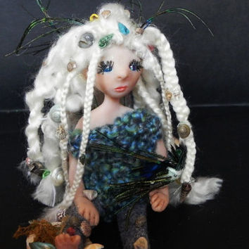Sea fairy doll. Polymer art doll, winged fairy doll, fairy display, mermaid art doll. OOAK!