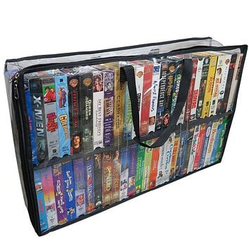 Evelots VHS Storage Bag-Movie Organizer-Video Tape-Handles-Hold 50-No Dust-Set/2
