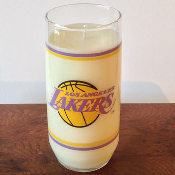 Vintage LA Lakers Drinking Glass Candle - Caldera - Capri Blue Volcano Type