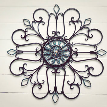 Metal Wall Scroll / Outdoor Decor / Wall Medallion / Ornate / Scroll / Garden Decor / Home Decor / Wall Hanging / Customize Colors