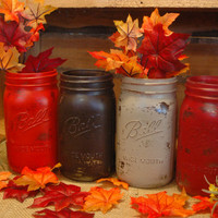 Autumn in the Woods painted mason jar collection