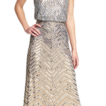 Chevron Beaded Blouson Gown - Adrianna Papell