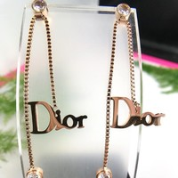 DIOR Fashionable Women Diamond Letter Pendant Long Titanium Steel Earrings Accessories Jewelry Rose Golden