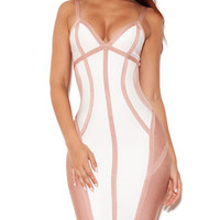Sexy V Neck Strappy White and Nude Bandage Dress