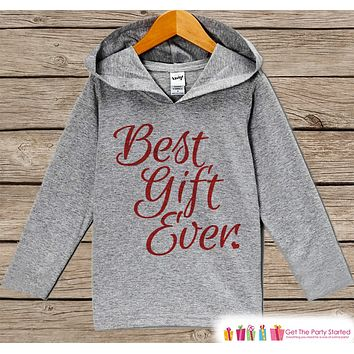 Best Gift Ever - Kids Hoodie Pullover - Grey Christmas Sweater - Christmas Pregnancy Announcement - Script Holiday Outfit for Baby, Toddler, Youth