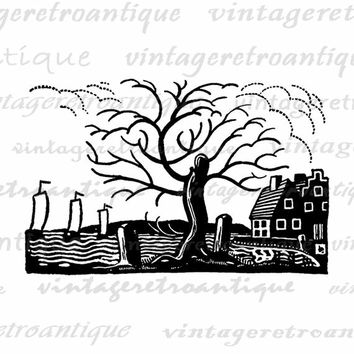 Digital House by the Sea Image Graphic Ocean Home Tree Printable Download Vintage Clip Art Jpg Png Eps  HQ 300dpi No.3844