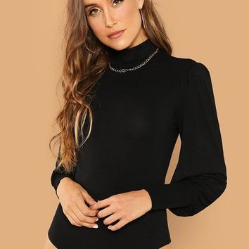 Mock Neck Lantern Sleeve Bodysuit