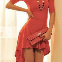 Asymmetrical Short Sleeves Dovetail Midi Dress