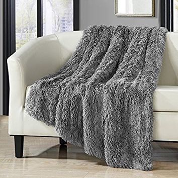 "Chic Home 1 Piece Anchorage Shaggy Faux Fur Supersoft Ultra Plush Decorative Throw Blanket 50 x 60"" White (50 x 60"", Silver)"