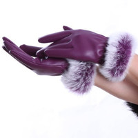 Women's Winter Real Sheep Leather Gloves Lambskin Rabbit Fur Warm Gloves = 1931701060