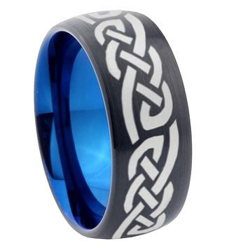 8mm Celtic Knot Infinity Love Dome Tungsten Carbide Blue Wedding Band Mens