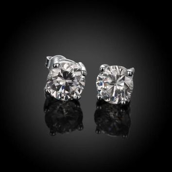 6mm Men Women Sterling Silver Plated Post Stud Crown Cubic Zirconia Earrings HOT