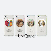 Lovely Animals series - iPhone 5C iPhone 5 / 5S case, half-transparent cover case, cute rabbit parrot cat dog design bumper pc tpu case, L07