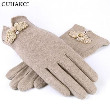 CUHAKCI Cashmere Gloves Winter Five Finger Wool Gloves Fall and Winter Warm Khaki Gray Womens Gloves Purple 2017