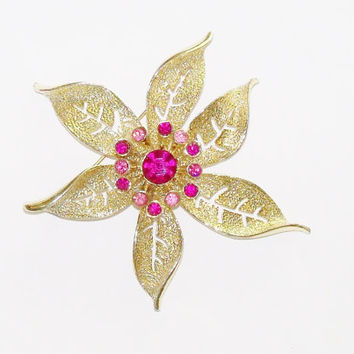 Vintage Brooch Flower Gold Pink Glam Sarah Coventry Wedding Bouquet Jewelry Bridal Sash Special Occasion Gift Idea Christmas Birthday