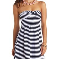 Knotted Striped Strapless Skater Dress by Charlotte Russe - Navy