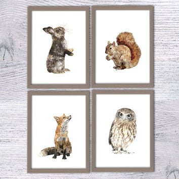 Set of 4, Nursery animal poster, Woodland animal, Baby animal, Bunny, Fox, Owl, Squirrel, Animal Painting, Woodland animal Forest animal V12