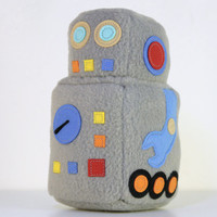 Toy robot plush - Robert 2000 - classic retro 60s gray stuffed toy robot