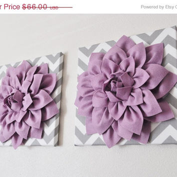 """MOTHERS DAY SALE Two Wall Flowers -Lilac Dahlia on Gray and White Chevron 12 x12"""" Canvas Wall Art- Baby Nursery Wall Decor-"""