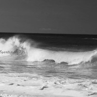 Black- white Ocean waves, smashing waves on the beach, Atlantic Ocean print Zen decor, 8 x 14""