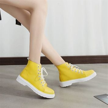 Leather Motocycle Ankle Boots Wedges Female Lace Up Platforms Booties