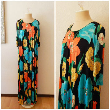 Vintage 60s 70s Black Colorful Flower Mod Hippie Maxi A Line Dress Medium Large