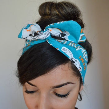 Miami Dolphins, headband, Dolly bow head bands, head band, hair bow
