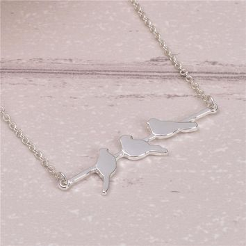 10pcs/lot Newest Cute Birds Pendant Necklace Jewelry Cute Animal Jewelry Three Birds Singing On The Branch Super Love Necklace