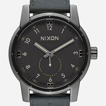 Nixon Patriot Leather Watch Gunmetal One Size For Men 26472311201