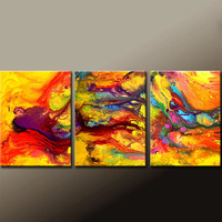 Abstract Canvas Art Painting 3pc 72x30 Contemporary Original Modern Art by Destiny Womack  - dWo -  In The Dream Realm