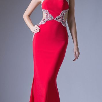 Red Open Cut-Out Back Mermaid Embellished Prom Gown