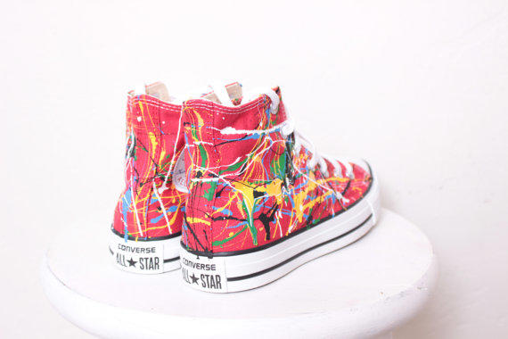 4f25011d7a3c55 Adult Red High Top Splatter Painted from theplayhaus on Etsy