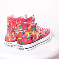 Adult Red High Top Splatter Painted Converse Sneakers Adult Size 5, Primary Colors