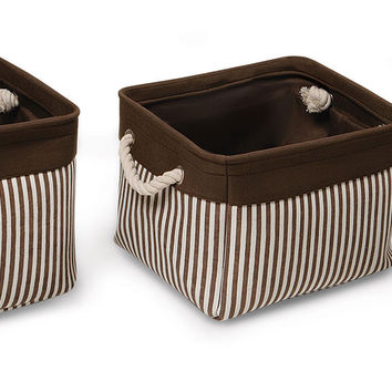 Badger Baskets Nesting Square 3 Basket Set (Espresso Stripe)