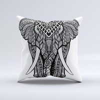 The Sacred Ornate Elephant ink-Fuzed Decorative Throw Pillow