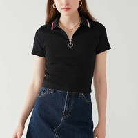 UO Tipped Half-Zip Cropped Polo Shirt | Urban Outfitters